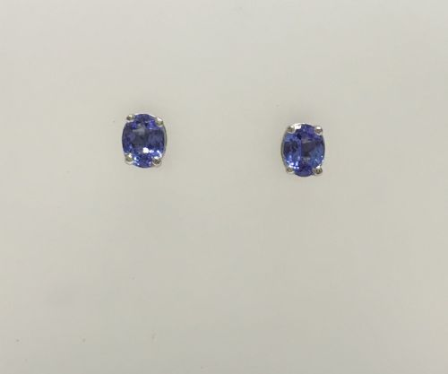 Tanzanite White Gold Oval Earrings